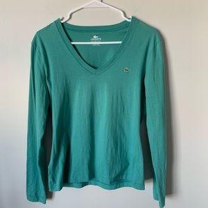 Lacoste teal long sleeve v-neck shirt